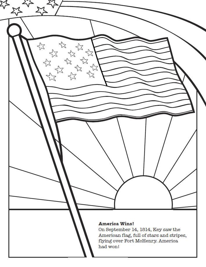 Image result for star spangled banner song coloring sheet | flag ...