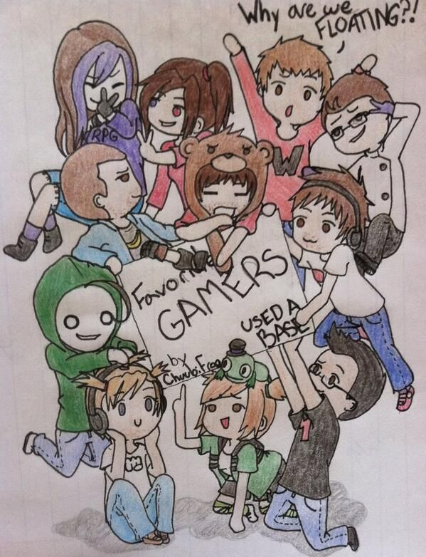 Here's some amazing gamer fan art I found on Twitter! TheRPGMinx, KrismPro, LordMinion777, Muyskerm, Seananners, CinnamonToastKen, Yamimash, Cryaotic, Pewdiepie, and Markiplier!. :D I believe that the last person in the drawing (next to Mark) is supposed to be the person who drew this.