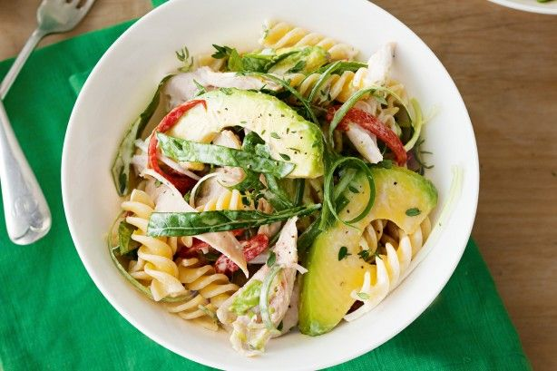 Fusilli is the perfect pasta for this salad because the creamy dressing sits in the spirals, making each bite especially delicious.