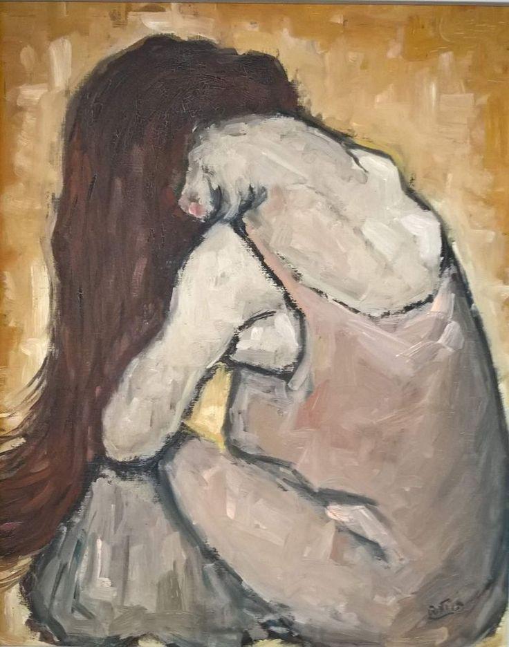 Dipinto ad olio su cartone telato - donna di spalle