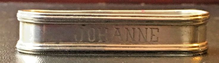 Sterling Silver Napkin Ring Johanne Name  Named Initials Monogram Oblong Lunt  #Lunt