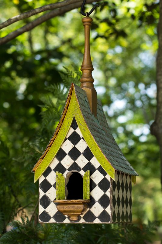 black + white diamond pattern birdhouse