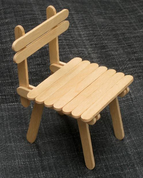 Popsicle stick house with table and chairs | DIY family