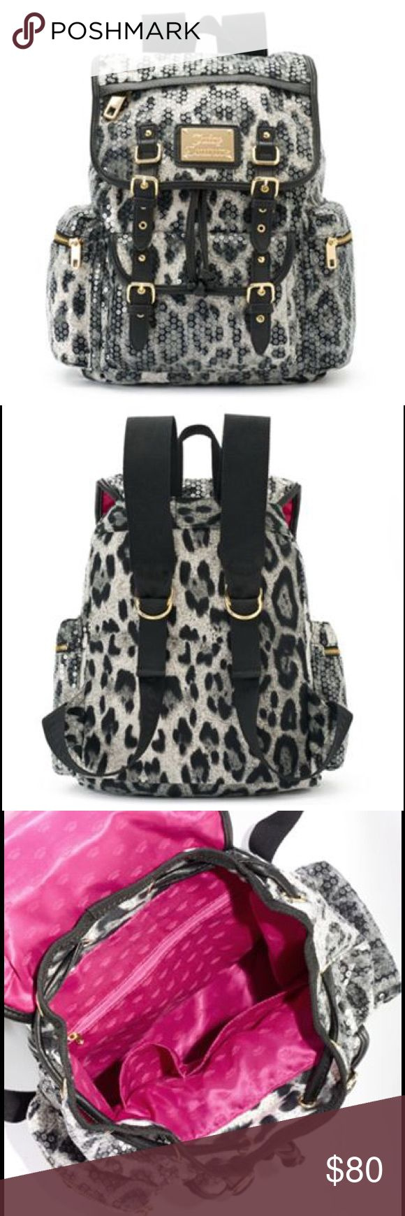 "JUICY COUTURE Sequin Black/White Leopard Backpack 🎉HP🎉NWT Juicy Couture black and gray glittery leopard backpack will add style to your wardrobe!  Glittery leopard design 13''H x 10.25''W x 5.5''D Top handle: 3'' Nylon Top handle & adjustable straps Magnetic snap & drawstring closures Exterior: 3 zip pockets & magnetic snap slip pocket Interior: 2 slip pockets & zip pocket Fabric, faux leather Clear Sequins Goldtone hardware & ""Juicy Couture"" logo plate Hot pink crown signature print…"