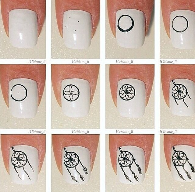 How to do Dream Catcher Nail Art (: https://noahxnw.tumblr.com/post/160809206096/hairstyle-ideas