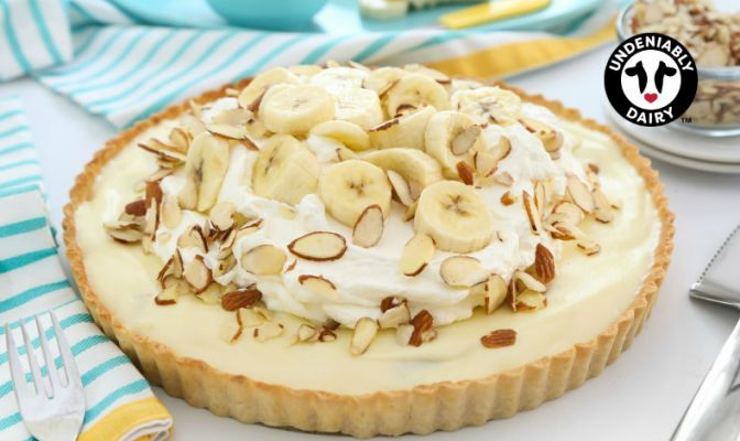 A chilled slice of cream pie is a refreshing and indulgent treat in warm weather. This banana version offers a flaky, buttery pie crust and custard cream filling made with whole milk and a touch of cream cheese. The entire pie is finished with a heaping helping of sweetened whippedGet the Recipe