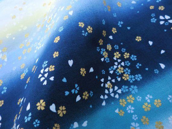 Japanese kimono fabric cotton blue gradation fat quarter