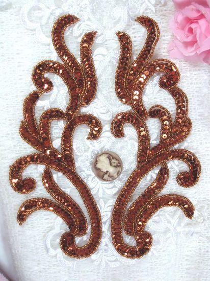 """0170 Bronze Mirror Pair Beaded Sequin Appliques 9""""   Motif 0170X-bz"""