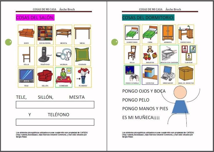 """MATERIALES - Cosas de mi casa.    El primero de los entornos es LA CASA ; """"Cosas de mi Casa"""" es el título de estos dos cuadernillos:    1º cuadernillo: lectoescritura en mayúsculas, para los niños que se inician en la lectoescritura.    2º cuadernillo: lectoescritura en letra scrib , minúsculas y pauta montesori.    http://arasaac.org/materiales.php?id_material=821"""