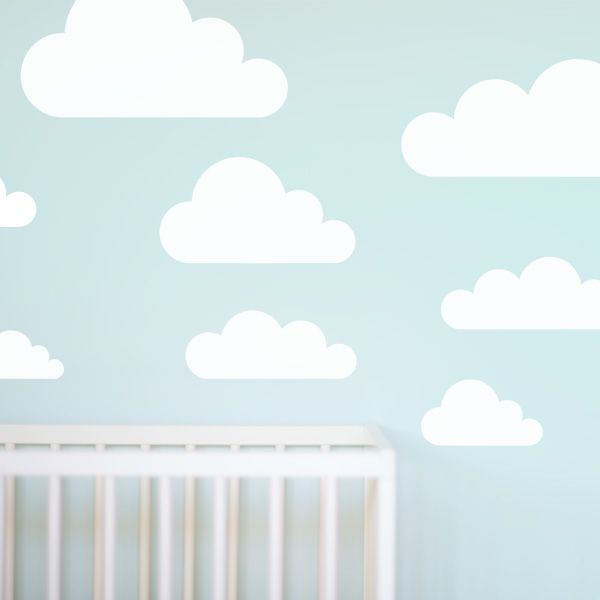 Simple Clouds Wall Sticker. A really simple nursery decor idea. White clouds look great on a coloured wall.