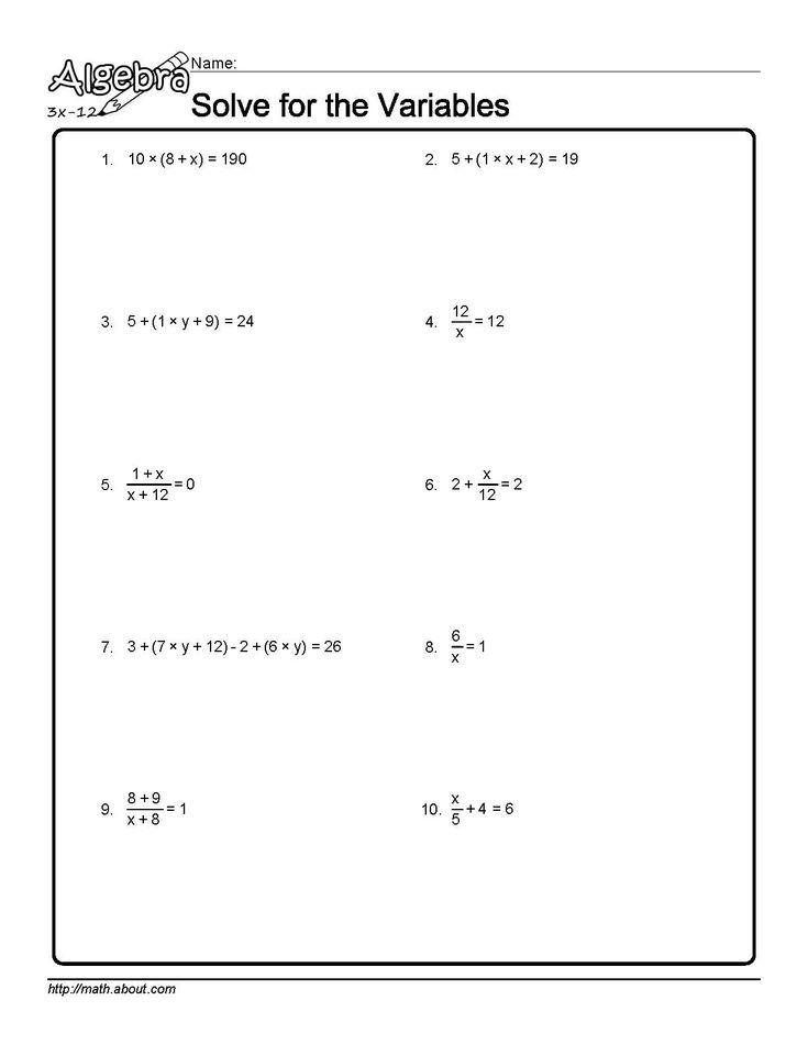 Algebra Algebra Algebra Worksheets Worksheets 8th grade algebra worksheets