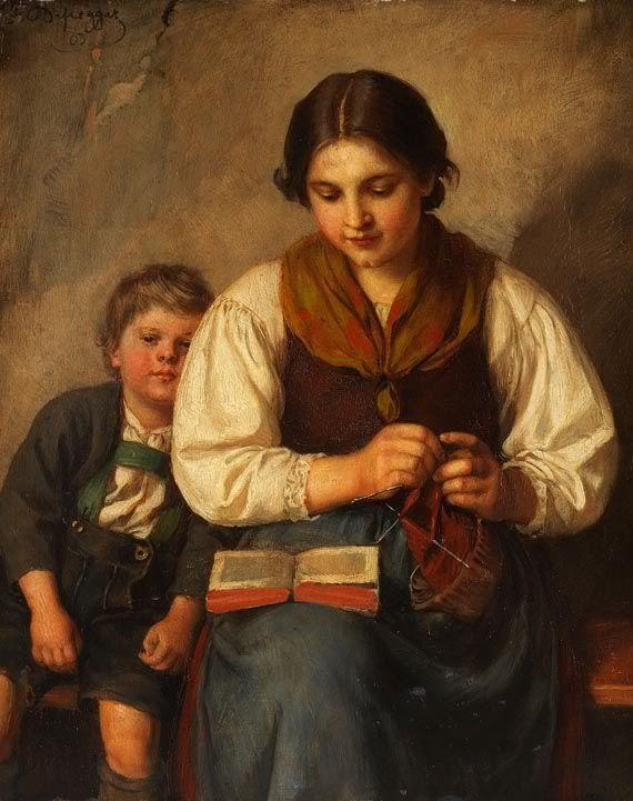 Franz von Defregger  Strickende Bäuerin mit Buben