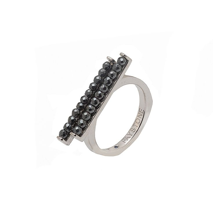 Serpens Ring | Platinum plated Sterling Silver ring with natural hematite gemstones