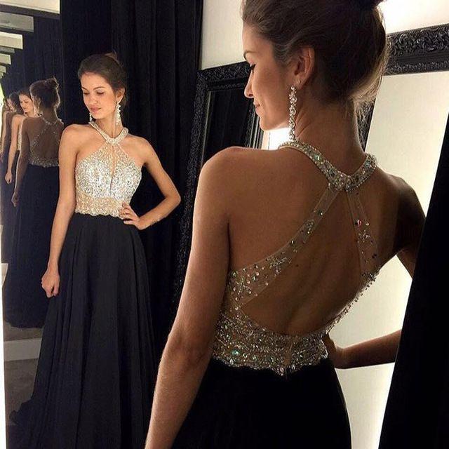2016 uma linha de Halter mangas de cristal vestido longo vestidos de festa Custom Made barato Backless vestidos