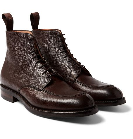 English shoemaker Cheaney is known for its exacting craftsmanship - over 160 processes go into the construction of each and every pair. Impeccably built by hand from pebble-grain leather, these 'Richmond' boots are set on durable Dainite rubber soles and are Goodyear®-welted to ensure a lifetime of reliable wear. The dark-brown shade and robust structure make them ideally suited to wet-weather commutes.