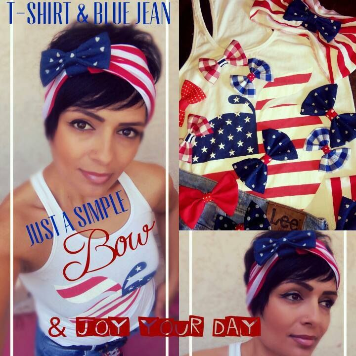 t- shirt & blue jean ... a simple bow & joy your day!!!!!!  Hand Made Hair Accessories