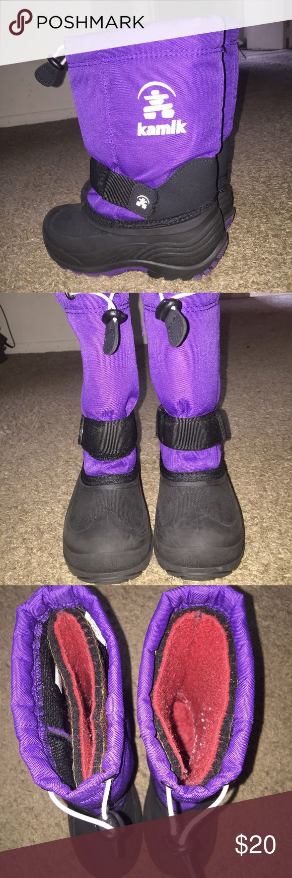 Kamik winter boots Kamik insulated girls winter boots. Gently worn. Color is purple and black. Size 13 kids. No box. Kamik Shoes Rain & Snow Boots
