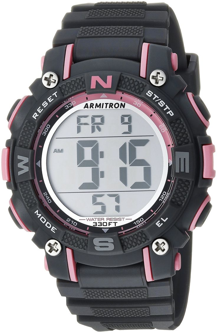 Armitron Sport Womens 45/7099PGY Pink Accented Digital