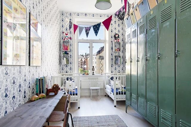 Mix of old and new interior style too, note the vintage lockers in the childrens bedroom