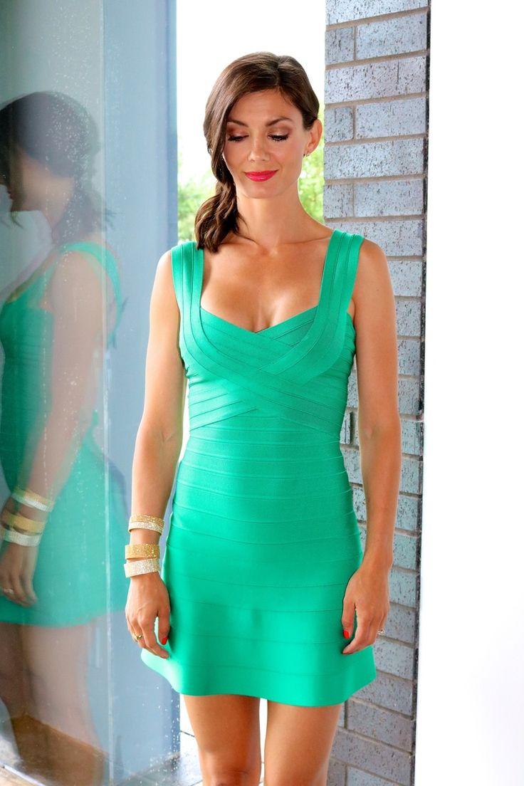 Hervé Leger Dress in Green Opal // 10 Row Bangle and 5 Row Bangles  // Liberté