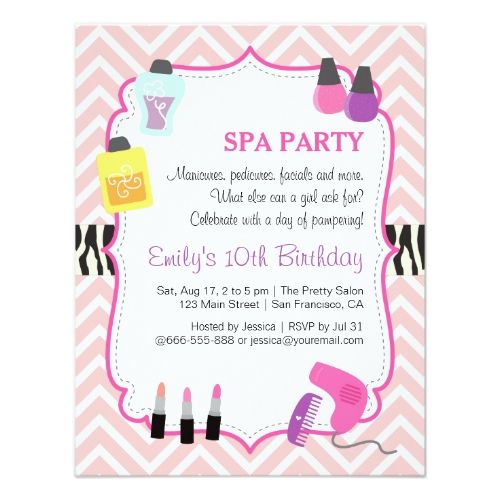 242 best spa birthday party invitations images on pinterest spa birthday party invitations pink chevron spa birthday party invitation stopboris Gallery