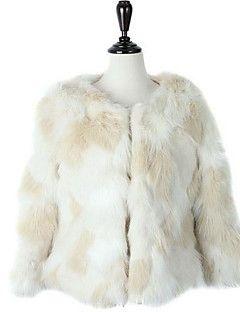 Bayanlar Kalın Suni Kürk Uzun Kollu Yuvarlak Yaka,Beyaz Kış Solid Sokak Şıklığı Günlük/Sade-Bayanlar Kürk Mont
