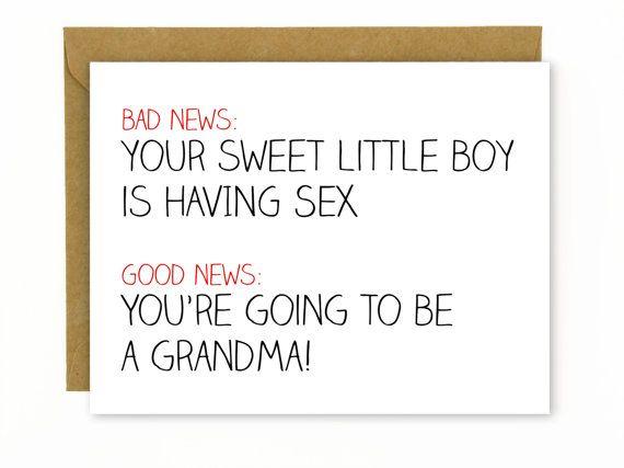 Pregnancy Card / New Baby / New Grandma/ Grandmother Card - You're Going to be a Grandma - Boy is Having Sex  HellaFresh Designs Etsy
