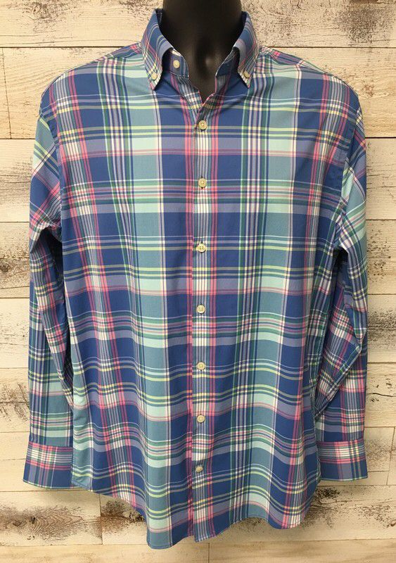 c8e60791cec4 Peter Millar Blue Pink White Plaid Summer Comfort Performance Sport Shirt  Size M