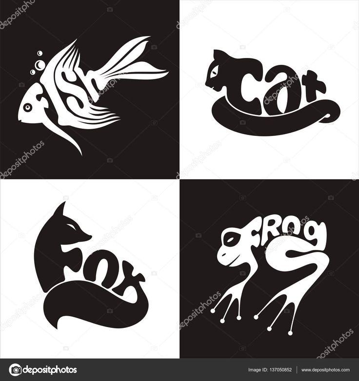 Животные логотип лягушки, рыбы, Кот, лиса — стоковая иллюстрация #137050852