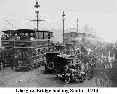 1914: Traffic on Glasgow Bridge, Glasgow. Typical rush hour?