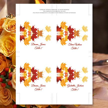 Your printable wedding place or escort card template is an instant download. The gorgeous rich fall leaves design is on both front and back of your cards (see additional photo). PC & Mac compatible.  Your files will be sent to you immediately upon payment through Etsy. Print your own wedding stationery and save hundreds of dollars on your wedding budget.  Create your own place cards in 3 easy steps ...  1) Change existing example text to your own 2) Print on 8.5 x 11 card stock or Avery 5...
