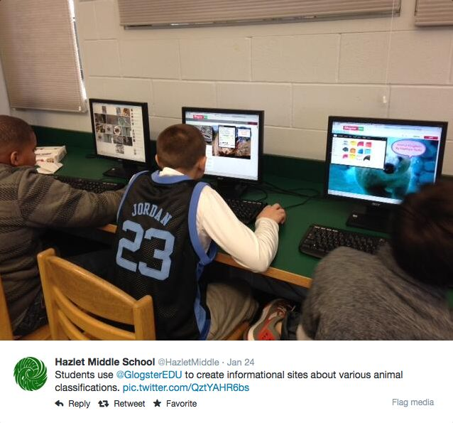 Hazlet Middle School students creating glogs about various animal classifications. #GlogsterEDU #classroom #education