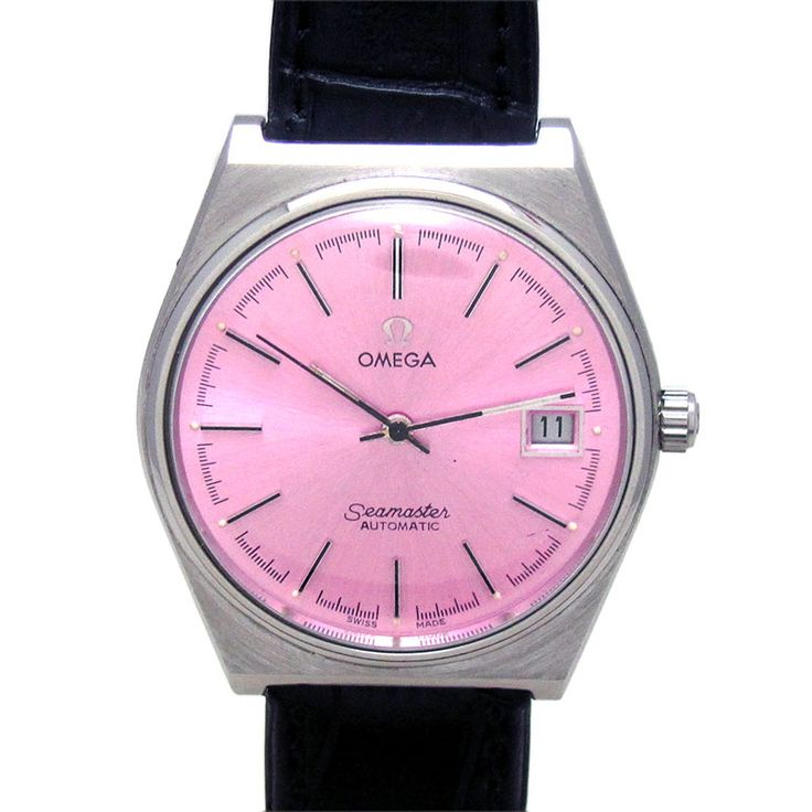 OMEGA SEA MASTER DATE AUTOMATIC WATCH  Feature : Center Second, Date, Engrave On Back Cover and Automatic Dial Features : Repainted Dial Dial Color : Pink Markers : Black Arrow Figures Case Material : Original Standard Stainless Steel Case Condition : Used and Excellent as per its Age Sign : Signed on the Dial, Crown, Back Cover and Movement Authentic : All Watches displayed are 100% Authentic and Original Crown : Pull Band Type : Leather Hands : Black Hands Movement : Automatic
