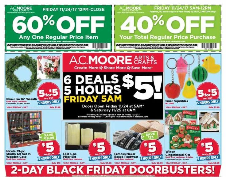 A.C. Moore Black Friday 2017 Ad Scan Deals and Sales #coupons  A.C. Moores 2017 Black Friday ad is here! Starting at 5AM on Black Friday you can shop their select $5 deals until 10AM. The rest of the ad is valid through Saturday the 25th. A.C. Moores website offers projects ad scans and weekly deals as well as printable coupons for arts and crafts items accessories and crafting tools in their physical retail locations. The online store opened in 2014 offers the supplies needed to make the…