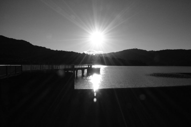 Sunset over Lower Nihotupu Dam, Laingholm, Auckland.  September 2013.  Photo by N Noble