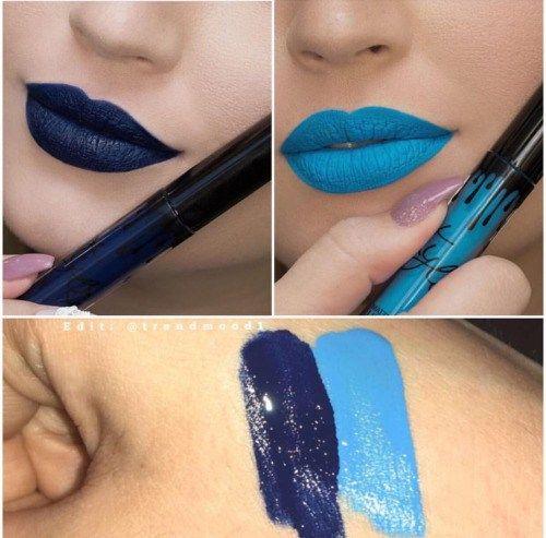 """ClioMakeUp-rossetto-blu-look-come-indossarlo-brand- Kylie ha proposto un blu notte molto intenso e un """"azzurro puffo"""" più azzardato e meno appetibile."""