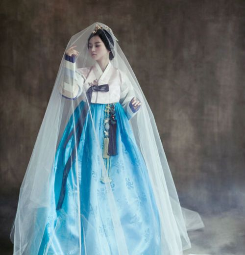 bright blue veiled hanbok.