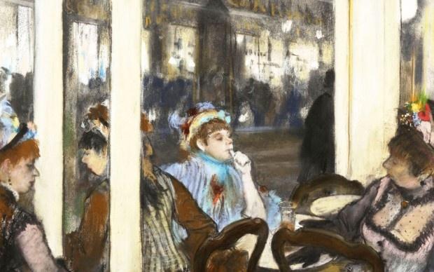 Donne fuori da un caffè la sera - E. Degas