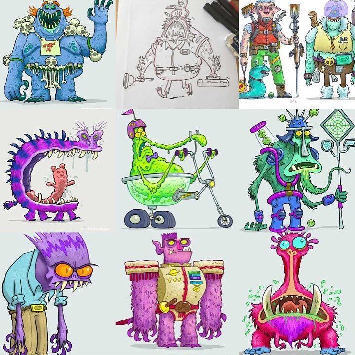 Here's my outer space #2016bestnine . Lovin my first year on Instagram. Tons of inspirational illustrators character designers photographers and toy makers! #illustration #characterdesign #artistsoninstagram #aliens #cartoon