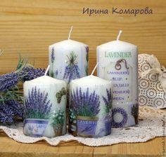 Купить Лавандовые свечи, комплект - васильковый, лавандовый цвет, лаванда, Декупаж, свечи прованс