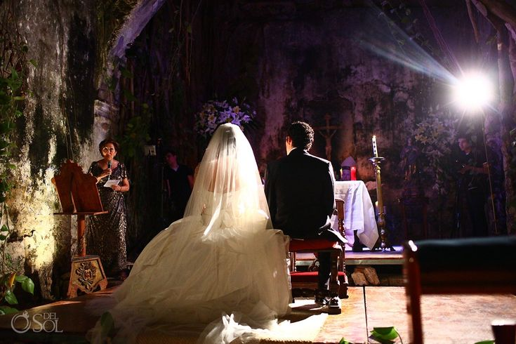 Campeche Mexico Wedding Hacienda Uayamon, stunning ruin of a chapel was a dynamite setting for  the ceremony.  Mexico wedding photographers Del Sol Photography