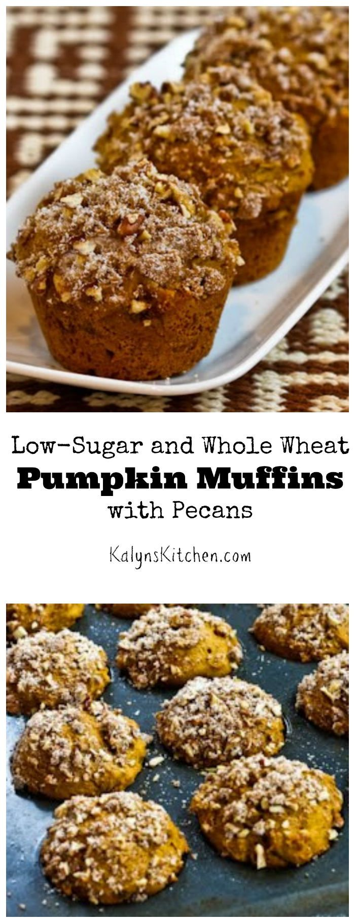 PIN this recipe for Low-Sugar and Whole Wheat Pumpkin Muffins with Pecans so you'll have it when you're ready to get your pumpkin on! [from KalynsKitchen.com}