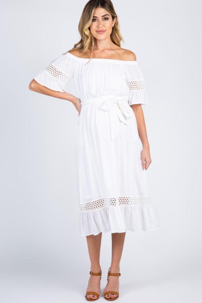 a2410730bc4 White Off The Shoulder Midi Maternity Dress