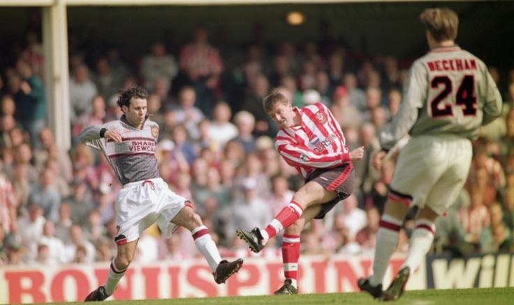 Ryan Giggs, Matt Le Tissier and David Beckham. Southampton F.C. - Manchester United F.C. , 90's.