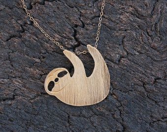 Gold Sloth Necklace, Hanging Sloth Pendant on Goldfilled Chain, Sloth Pendant, Sloth Jewelry, Sloth Gift, Gold Sloth, Three Toed Sloth