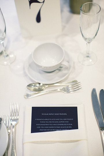 For us, a heartfelt thank you note at each seat was far more meaningful than a tangible favor (Julie Lim Photography)