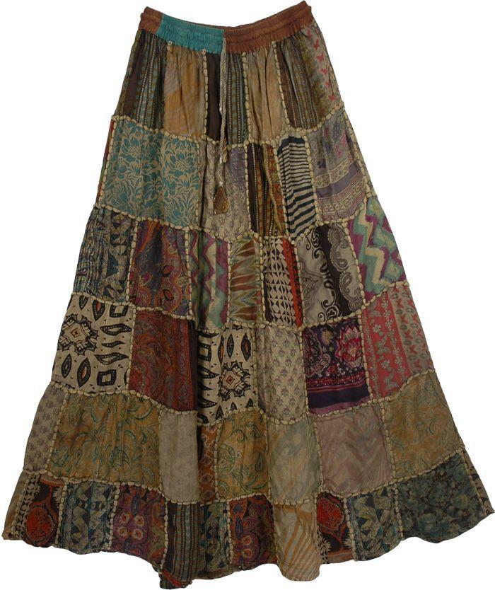 Gypsy Panel Boho Skirt - http:  