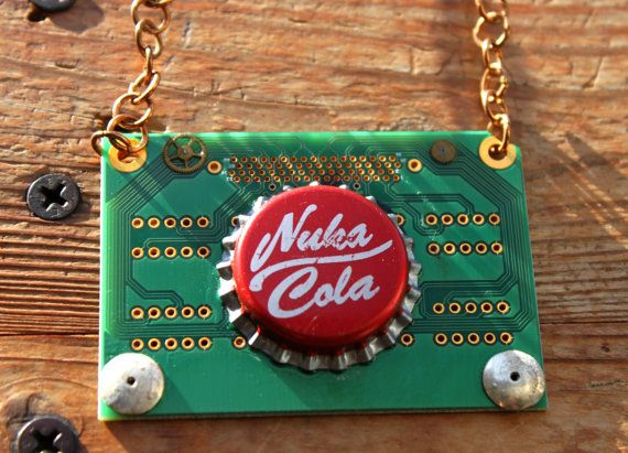 This is real integrated circuit with Nuka Cola Bottle Cap, thong made from real leather.  Following necklace will arrive to you in a post