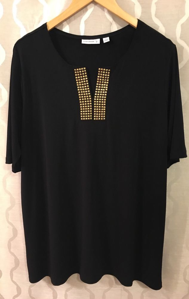 Susan Graver Liquid Knit Split Neck Shirt Tunic Gold Stud Detail Plus Size 1X #SusanGraver #PulloverTunic