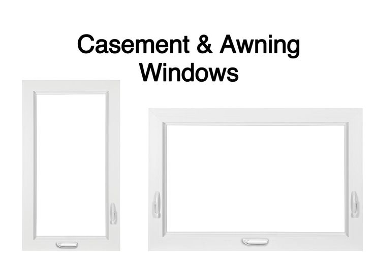 Casement windows are hinged on the right or the left. Awning windows are hinged on top. Both open and shut easily with the turn of a handle.